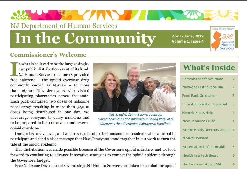 NJ Department of Human Services In the Community Newsletter April-June2019