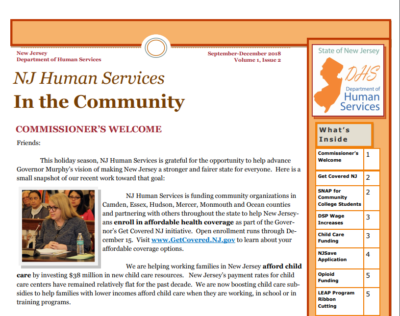 NJ Human Services In the Community Newsletter
